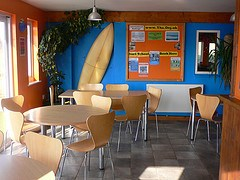 Reception area at Treyarnon Youth Hostel