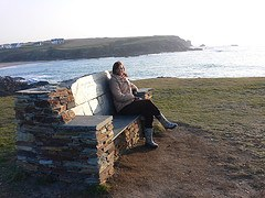 Stone bench on the cliff at Treyarnon