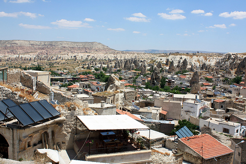 The town on Goreme in Cappadocia