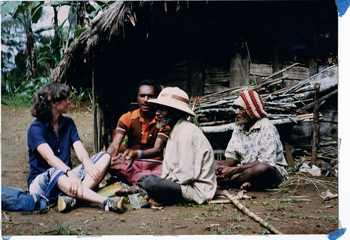 Heather meets the elders in the highlands of Papua New Guinea