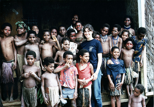 Heather at a school in the Highlands of Papua New Guinea