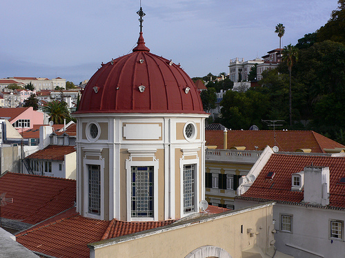 View of the church dome behind Hotel Heritage Av Liberdade in Lisbon