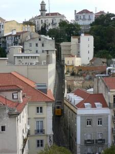Elevador do Lavra behind Hotel Heritage Av Liberdade in Lisbon