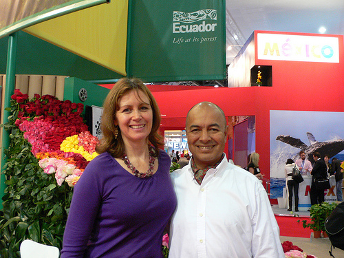 Heather Cowper and Luis Hernandez at the World Travel Market Photo: Heatheronhertravels.com