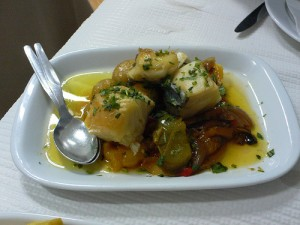 Salt cod with sweet peppers at Casa do Alentejo