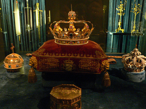 The crown jewels in the Treasury at the Residenz in Munich