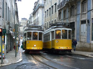 Trams in Lisbon for sightseeing