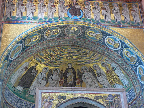 The golden mosaics in the Basilica of Euphrasius, Porec