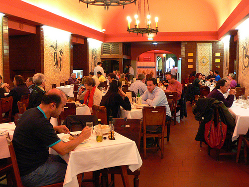 The dining room at Cervejaria Trinidade in Lisbon