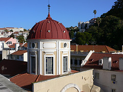 View of Church dome from Hotel Heritage Av. Liberdade in Lisbon