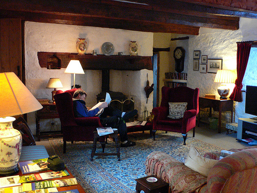 Sitting room at Laswern Fawr, Brecon Beacons, Wales