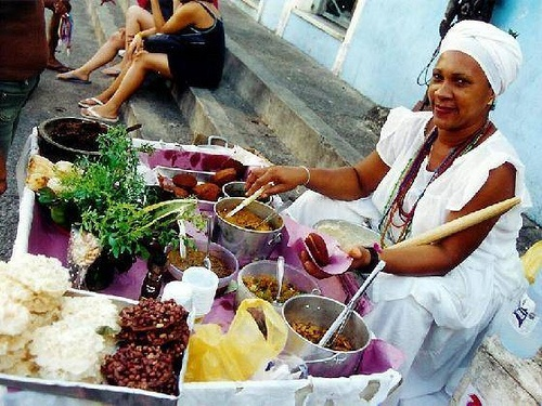 Bahian woman selling Acaraje, Bahian sea food