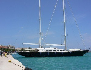 Yacht in Zante harbour
