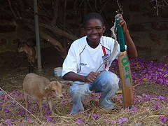 Boy with goat in Wiaga, Ghana