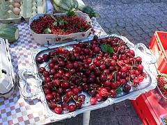 Cherries in the market at Altötting in Bavaria, Germany