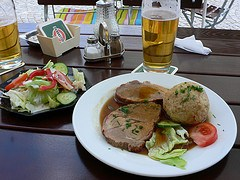 Roast Veal with potato dumplings in Bavaria, Germany