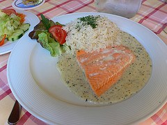 Salmon in herb sauce in Bavaria, Germany