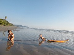 Kids enjoying the beach in Costa Rica
