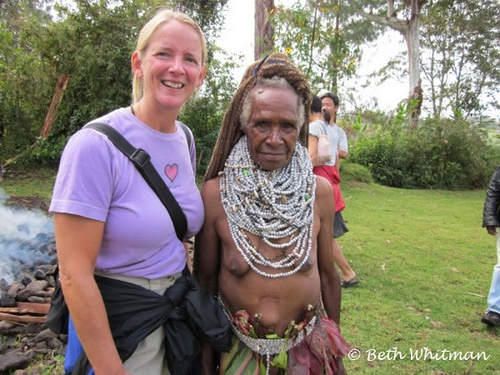 Beth Whitman with a Big Man's wife in Papua New Guinea