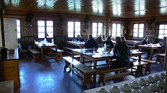 Dining room at Refuge la Flégère