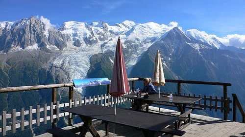 On the terrace at Refuge de Bellechat nr Chamonix