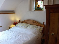 Master bedroom at Buckshead eco-cottage in Shropshire