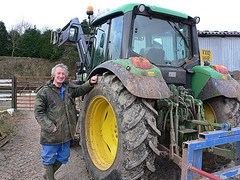 Trevor and his tractor at Brynmawr Farm, Shropshire