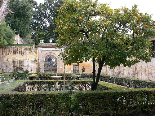 Fountains in the gardens of the Alhambra in Granada