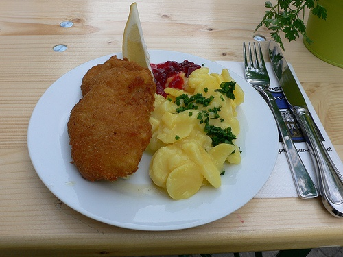 Wiener Schnitzel and potato salad in St Wolfgang