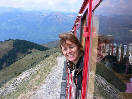 On the Schafbergbahn train above Wolfgangsee by Heatheronhertravels.com