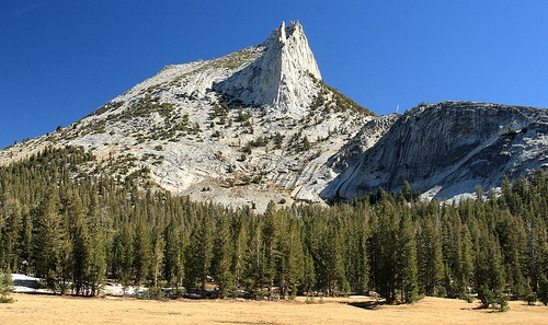 Cathedral Peak from the start of the trail in Tuolumne Meadows, Yosemite National Park