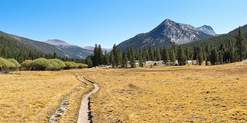 John Muir Trail and Potter Point from Lyell Canyon in late summer in Yosemite National Park