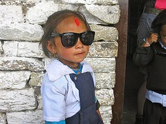 Trying on the Raybans in Nepal