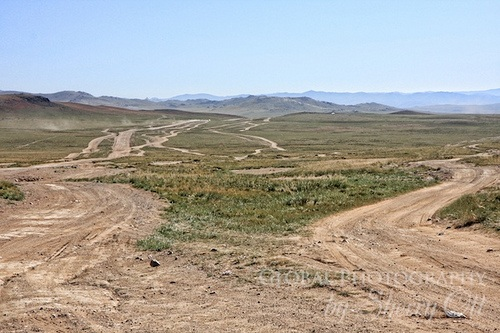 Road choices in Mongolia on the Mongol Rally Photo: Sherry Ott