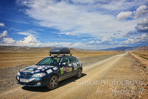 Car in Western Mongolia on the Mongol Rally Photo: Sherry Ott