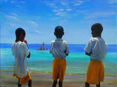 A postcard of local boys in St Lucia gazing out to see