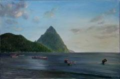 Pittons in St. Lucia by an American artist Jonathan Gladding