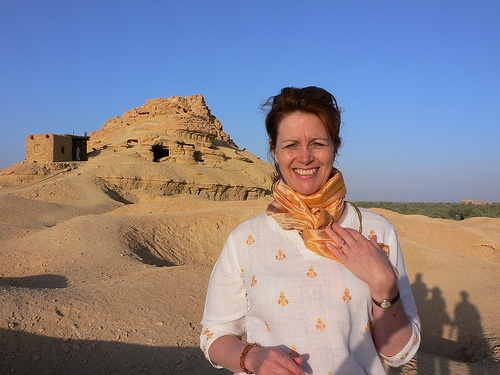 Heather at Gebel Al Mawta, the Mountain of the dead at Siwa in Egypt Photo: Heatheronhertravels.com