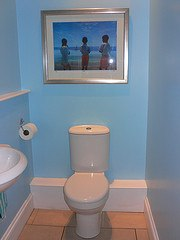 My bathroom decorated with the print from St Lucia