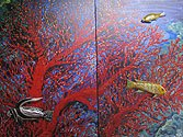 Fishes in the ocean by American mural artist Mary Weber