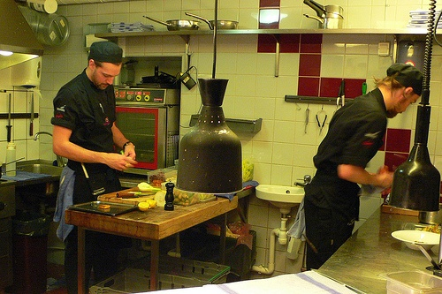 Chefs at work in the open kitchen at Basement in Gothenburg, Sweden Photo: Heatheronhertravels.com