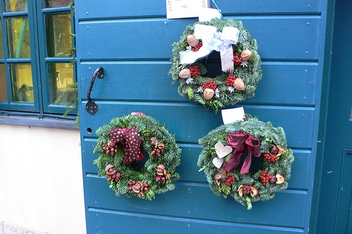 Christmas wreaths at Kronhuset in Gothenburg, Sweden Photo: Heatheronhertravels.com