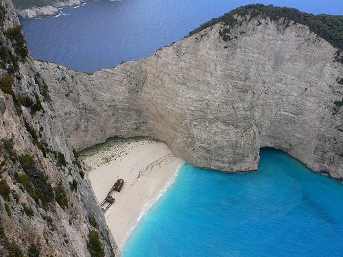 The beach at Navagio or Smuggler's Cove on Zakynthos Photo: Heatheronhertravels.com