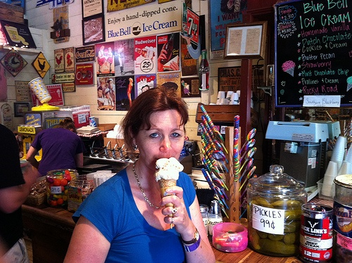 Eating Bluebell Ice Cream at Gruene General Store, New Braunfels, Texas Photo: Heatheronhertravels.com