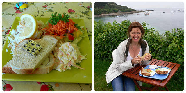 Crab salad & Crab sandwiches on Guernsey Photo: Heatheronhertravels.com