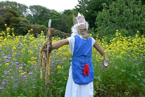 King Neptune scarecrow at La Seigneurie Gardens, Sark Photo: Heatheronhertravels.com