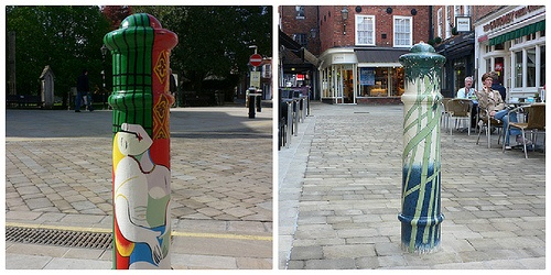 Painted Bollards in Winchester Photo Heatheronhertravels.com