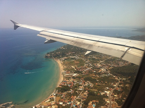 Coming into land over Laganas Bay on Zante Photo: Heatheronhertravels.com