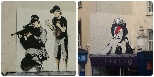 Banksy then and now on Park Row, Bristol Photo: Heatheronhertravels.com