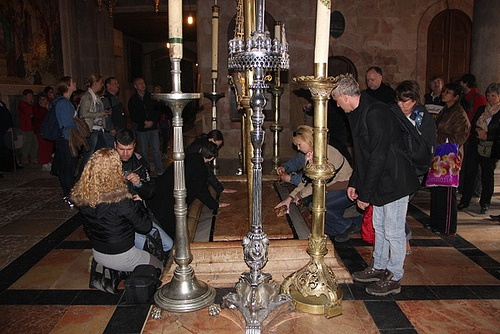 Stone of Annointing in the Church of the Holy Sepulchre, Jerusalem Photo: Sally Hunt